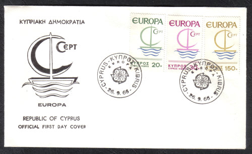 Cyprus Stamps SG 280-82 1966 Europa Ship - Official FDC
