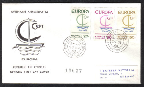 Cyprus Stamps SG 280-82 1966 Europa Ship With Label - Official FDC (h857)