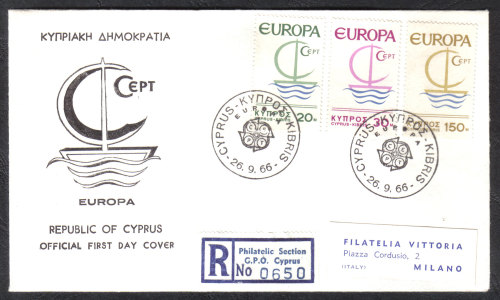 Cyprus Stamps SG 280-82 1966 Europa Ship - With label Official FDC (h859)