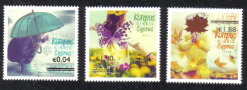 "Cyprus Stamps SG 1327-29 2014 Overprints of ""The Four Seasons"" stamps - MINT"
