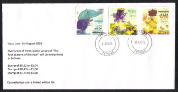 "Cyprus Stamps SG 1327-29 2014 Overprints of ""The Four Seasons"" stamps - Unofficial FDC"