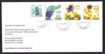 "Cyprus Stamps SG 1327-29 2014 Overprints of ""The Four Seasons"" stamps - Unofficial FDC (h868)"