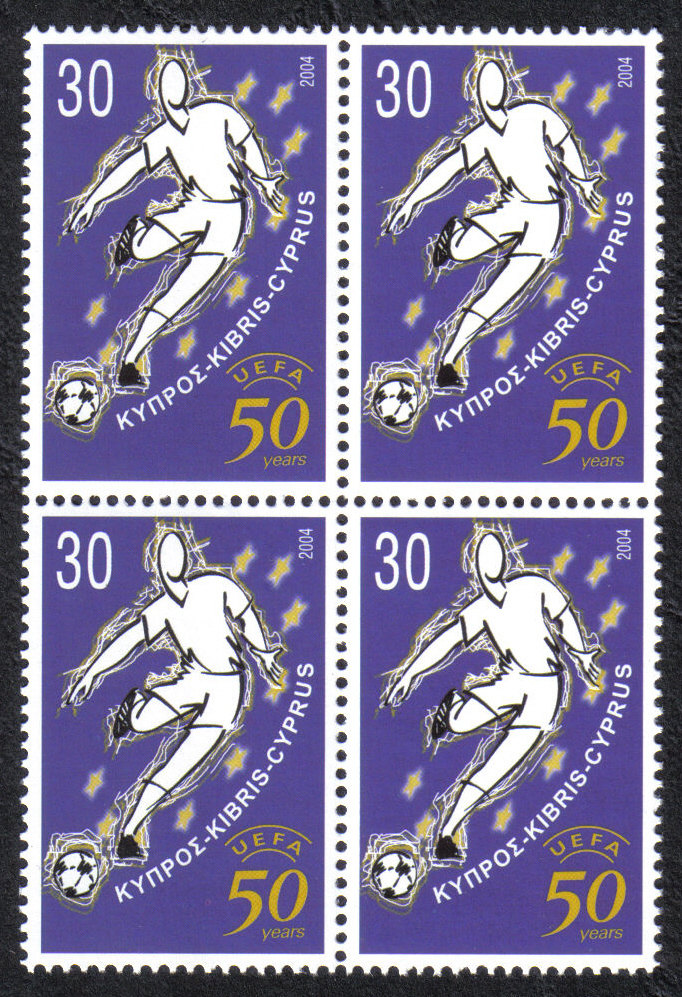 Cyprus Stamps SG 1070 2004 UEFA Football - Block of 4 MINT