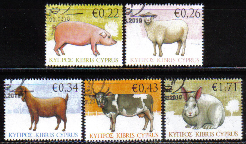 Cyprus Stamps SG 1212-16 2010 Domestic Animals - USED (d844)