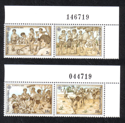 Cyprus Stamps SG 740-43 1989 Europa Childrens games - Control numbers MINT