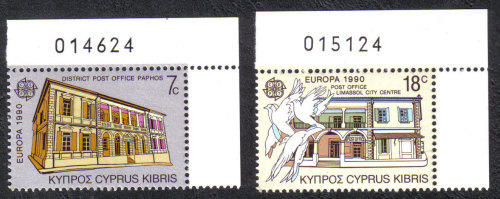 Cyprus Stamps SG 774-75 1990 Europa Post Office Buildings - Control numbers