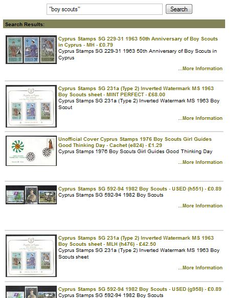 Cyprus stamps Boy Scouts search results using quotation marks in the Product Search tool