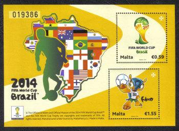 Malta Stamps SG 1866 MS 2014 Sheet Brazil FIFA World Cup Football - MINT