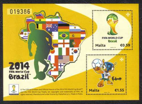 Malta Stamps SG 2014 Sheet Brazil FIFA World Cup Football - MINT