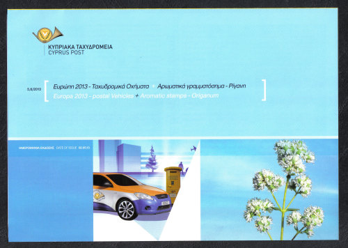 Cyprus Stamps Leaflet 2013 Issue No 5+6 Europa postal vehicles and Origanum