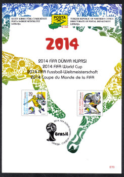 North Cyprus Stamps Leaflet 270 2014 FIFA World Cup Brazil