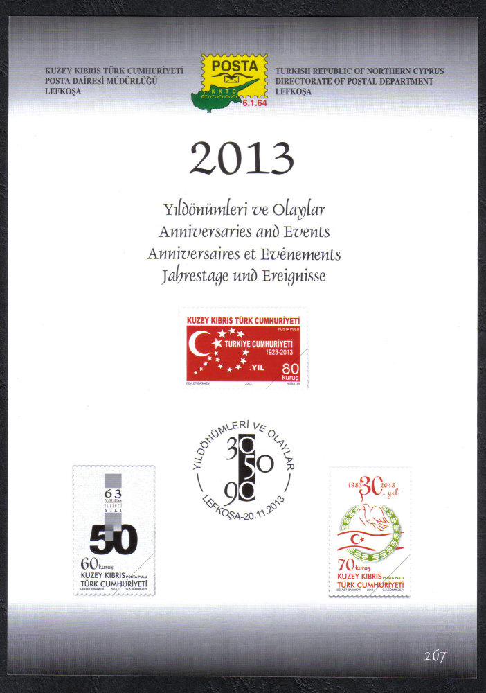 North Cyprus Stamps Leaflet 267 2013 Anniversaries and Events