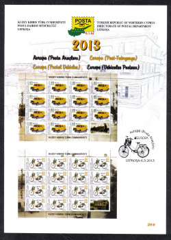 North Cyprus Stamps Leaflet 264a 2013 Europa Postal Vehicles
