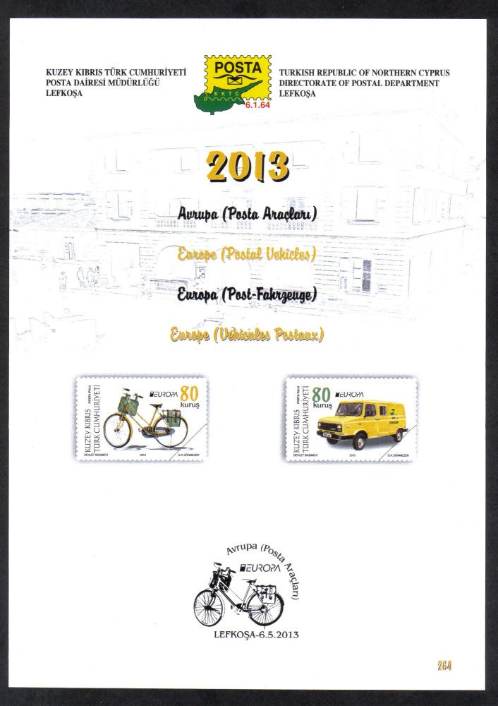 North Cyprus Stamps Leaflet 264 2013 Europa Postal Vehicles