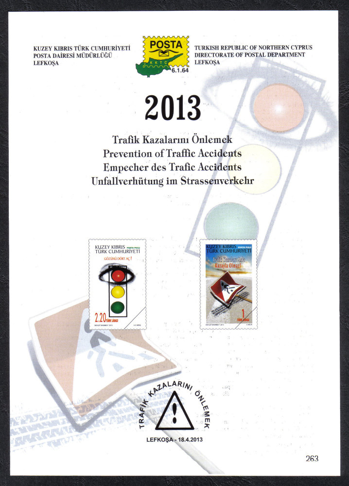 North Cyprus Stamps Leaflet 263 2013 Prevention of traffic accidents