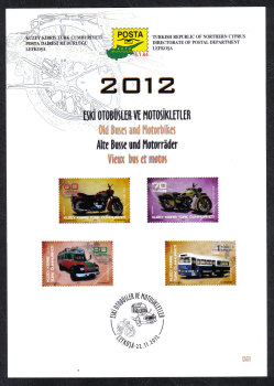 North Cyprus Stamps Leaflet 261 2012 Old Buses and Motorbikes