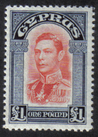 Cyprus Stamps SG 163 1938 KGVI  £1 One Pound - MH (h906)