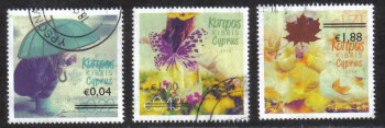 "Cyprus Stamps SG 1327-29 2014 Overprints of ""The four seasons"" stamps - USED (h917)"