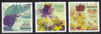 "Cyprus Stamps SG 1327-29 2014 Overprints of ""The four seasons"" stamps - USED (h919)"
