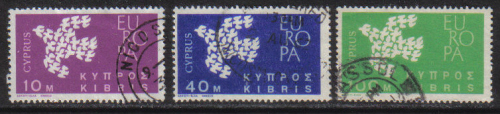 Cyprus Stamps SG 206-08 1962 Europa Doves - USED (g945)
