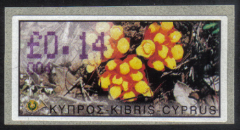 "Cyprus Stamps 098 Vending Machine Labels Type E 2002 Ayia Napa (004) ""Citinus Hypocistis"" 14 cent - MINT"