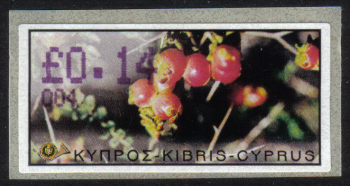 "Cyprus Stamps 100 Vending Machine Labels Type E 2002 Ayia Napa (004) ""Sarcopoterium Spinosum"" 14 cent - MINT"
