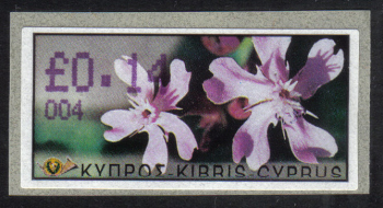 "Cyprus Stamps 101 Vending Machine Labels Type E 2002 Ayia Napa (004) ""Silene Aegyptiaca"" 14 cent - MINT"