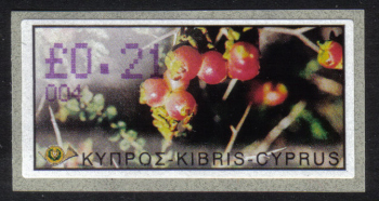 "Cyprus Stamps 105 Vending Machine Labels Type E 2002 Ayia Napa (004) ""Sarcopoterium Spinosum"" 21 cent - MINT"
