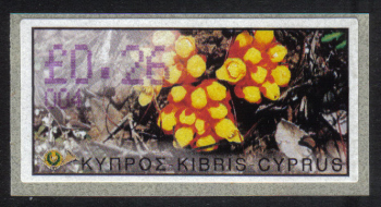 "Cyprus Stamps 108 Vending Machine Labels Type E 2002 Ayia Napa (004) ""Citinus Hypocistis"" 26 cent - MINT"