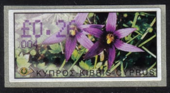"Cyprus Stamps 109 Vending Machine Labels Type E 2002 Ayia Napa (004) ""Romulea Tempskyana Freyn"" 26 cent - MINT"