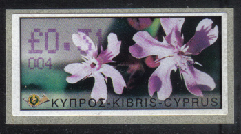 "Cyprus Stamps 116 Vending Machine Labels Type E 2002 Ayia Napa (004) ""Silene Aegyptiaca"" 31 cent - MINT"
