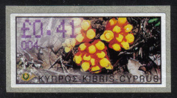 "Cyprus Stamps 118 Vending Machine Labels Type E 2002 Ayia Napa (004) ""Citinus Hypocistis"" 41 cent - MINT"