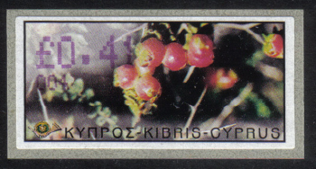 "Cyprus Stamps 120 Vending Machine Labels Type E 2002 Ayia Napa (004) ""Sarcopoterium Spinosum"" 41 cent - MINT"