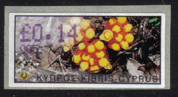 "Cyprus Stamps 128 Vending Machine Labels Type E 2002 Limassol (005) ""Citinus Hypocistis"" 14 cent - MINT"