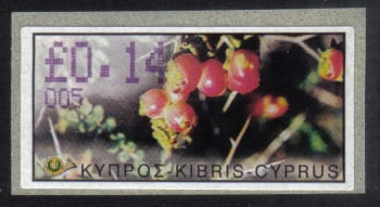 "Cyprus Stamps 130 Vending Machine Labels Type E 2002 Limassol (005) ""Sarcopoterium Spinosum"" 14 cent - MINT"
