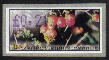 "Cyprus Stamps 135 Vending Machine Labels Type E 2002 Limassol (005) ""Sarcopoterium Spinosum"" 21 cent - MINT"