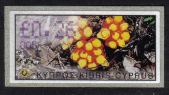 "Cyprus Stamps 138 Vending Machine Labels Type E 2002 Limassol (005) ""Citinus Hypocistis"" 26 cent - MINT"