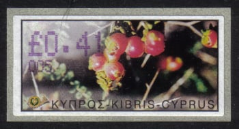 "Cyprus Stamps 147 Vending Machine Labels Type E 2002 Limassol (005) ""Anunculus Asiaticus"" 41 cent - MINT"
