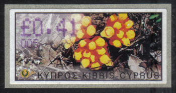 "Cyprus Stamps 148 Vending Machine Labels Type E 2002 Limassol (005) ""Citinus Hypocistis"" 41 cent - MINT"
