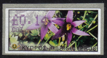 "Cyprus Stamps 069 Vending Machine Labels Type E 2002 Nicosia (003) ""Romulea Tempskyana Freyn"" 14 cent - MINT"
