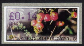 "Cyprus Stamps 070 Vending Machine Labels Type E 2002 Nicosia (003) ""Sarcopoterium Spinosum"" 14 cent - MINT"