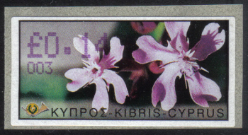 "Cyprus Stamps 071 Vending Machine Labels Type E 2002 Nicosia (003) ""Silene Aegyptiaca"" 14 cent - MINT"