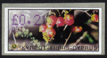 """Cyprus Stamps 075 Vending Machine Labels Type E 2002 Nicosia (003) """"Sarcopoterium Spinosum"""" 21 cent - MINT"""
