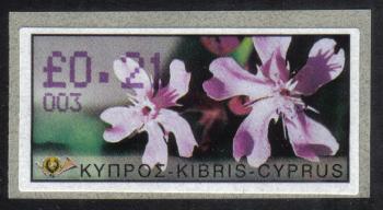 "Cyprus Stamps 076 Vending Machine Labels Type E 2002 Nicosia (003) ""Silene Aegyptiaca"" 21 cent - MINT"
