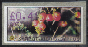 "Cyprus Stamps 090 Vending Machine Labels Type E 2002 Nicosia (003) ""Sarcopoterium Spinosum"" 41 cent - MINT"