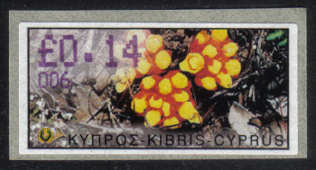 "Cyprus Stamps 158 Vending Machine Labels Type E 2002 Paphos (006) ""Citinus Hypocistis"" 14 cent - MINT"