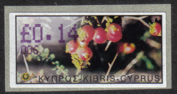 "Cyprus Stamps 160 Vending Machine Labels Type E 2002 Paphos (006) ""Sarcopoterium Spinosum"" 14 cent - MINT"