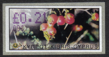 "Cyprus Stamps 164 Vending Machine Labels Type E 2002 Paphos (006) ""Romulea Tempskyana Freyn"" 21 cent - MINT"