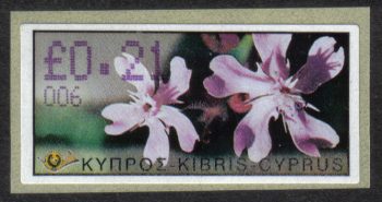 "Cyprus Stamps 166 Vending Machine Labels Type E 2002 Paphos (006) ""Silene Aegyptiaca"" 21 cent - MINT"