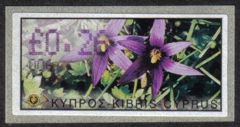 "Cyprus Stamps 169 Vending Machine Labels Type E 2002 Paphos (006) ""Romulea Tempskyana Freyn"" 26 cent - MINT"